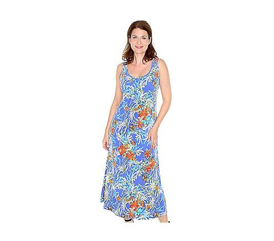 Kim Co Brazil Knit Jersey Maxi Kleid Rundhalsausschnitt Floral Druck Qvc De