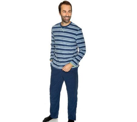 info for 38252 32d8e MEN'S TOUCH MF Fleece Pyjama 1/1-Arm Streifendruck — QVC.de