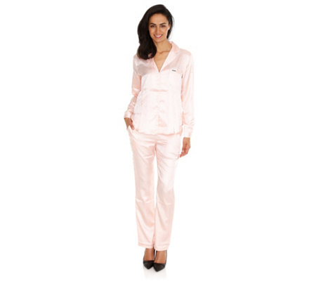 temperament shoes huge sale unique design LASCANA Jacquard-Satin Pyjama 1/1-Arm Kontrastpaspel — QVC.de