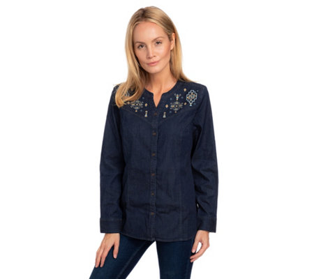DENIM & CO Jeansbluse 1/1-Arm Knopfleiste Stickerei
