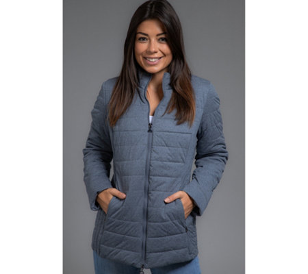 DENIM & CO. Steppjacke Stehkragen 2-Wege-Zipper Stretchmaterial