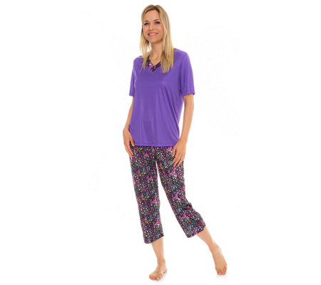 LITTLE ROSE Mikrofaser Pyjama, 1/2-Arm 7/8-Hose grafischer Druck