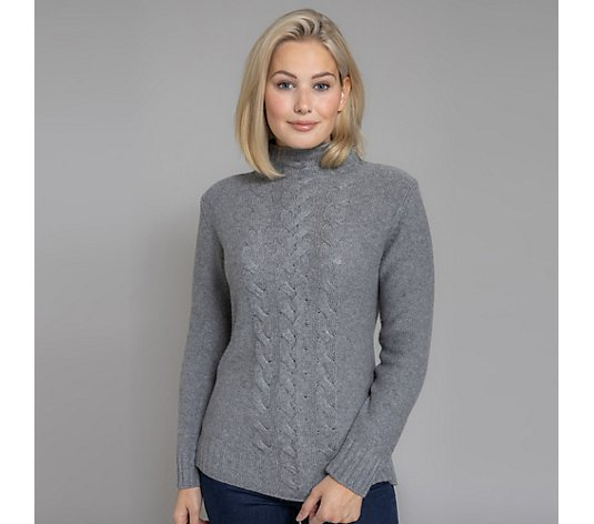 HEKLA & CO. Pullover, 1/1-Arm Stehkragen Zopfmuster Made in Italy