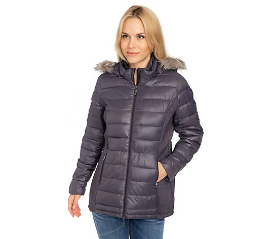 DENIM & CO. Steppjacke 2in1-Optik elastische Seiteneinsätze