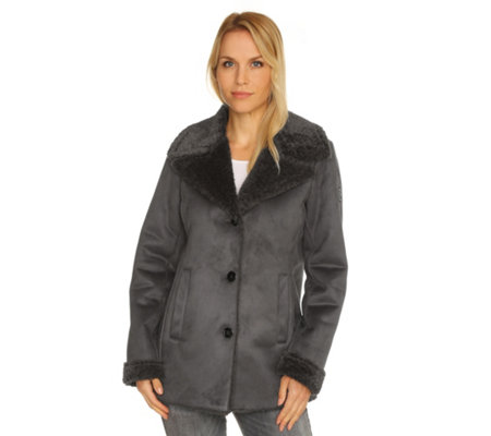 FRIEDA LOVES NYC Jacke Lammfell-Optik Seitentaschen Reverskragen