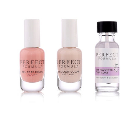 PERFECT FORMULA Topcoat 18ml, Farb Gel Coat Hell Pink & Milch Rosa je 8ml