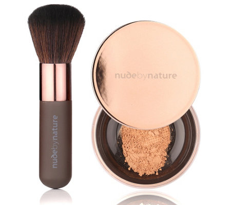 NUDE BY NATURE Radiant Loose Puder Foundation mit Pinsel 10g