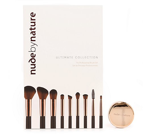 NUDE BY NATURE Pinsel-Set mit Finish Puder 2g, inkl. Tasche 11tlg.