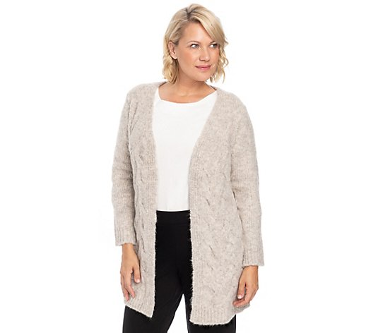 THOM by Thomas Rath Cardigan offene Front lange Form Zopfmuster