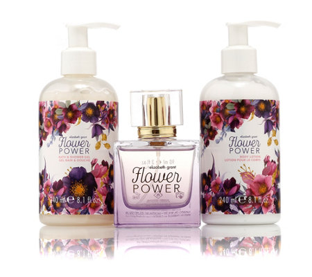 ELIZABETH GRANT FLOWER POWER EdP 90ml, Showergel 240ml & Bodylotion 240ml
