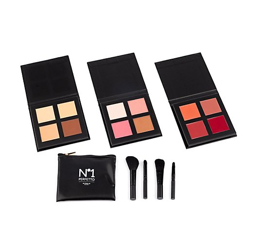 PERFETTO NO 1 Make-up-Set Foundation- Puder- & Lippenstift- Palette mit Pinselset