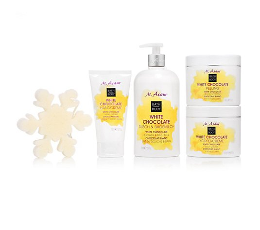 M.ASAM® White Chocolate Dusch- & Bademilch, Peeling, Körpercreme & Handcreme, 4tlg.