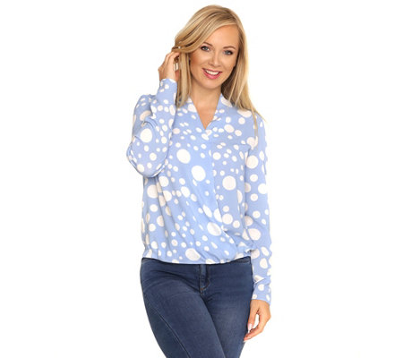 VIA MILANO Bluse, 1/1-Arm Wickel-Optik Tupfen