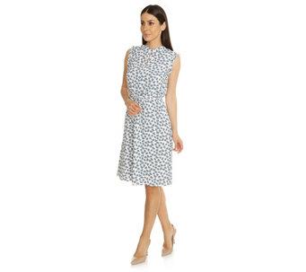 56b3cdaa2278 VIA MILANO Kleid, ärmellos Stehkragen Volantsabschlüsse ca 102cm - 204524