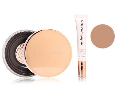 NUDE BY NATURE Perfect Complexion Flaw Fixing Kit mit Concealer & Fixierpuder, 2tlg.