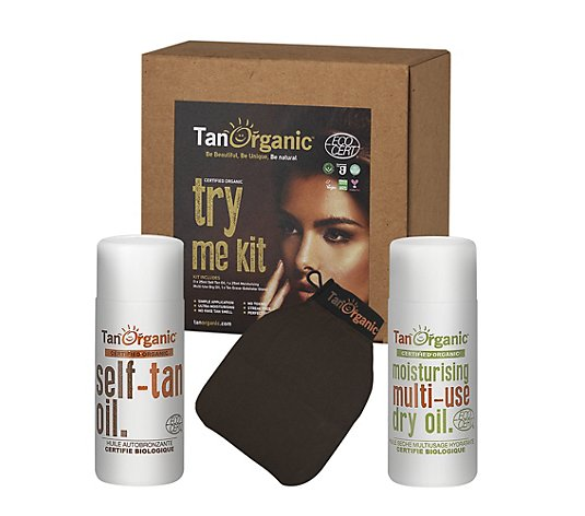 TANORGANIC Self-Tan Oil 25ml, Moisturising Multi Use Dry Oil 25ml & Peelinghandschuh