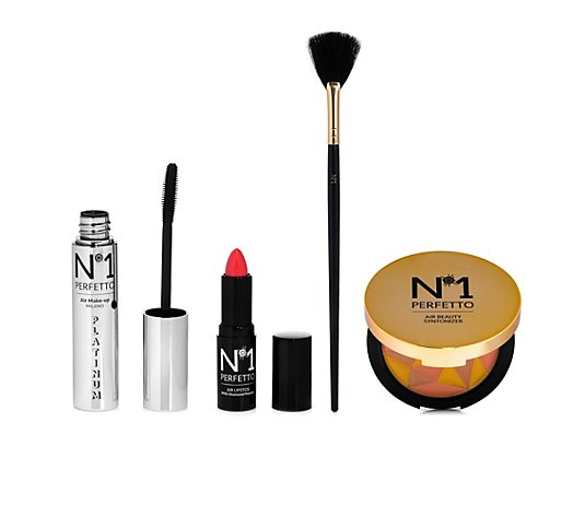 PERFETTO NO 1 Make-up-Set Highlighter & Mascara Lippenstift 4tlg. mit Pinsel