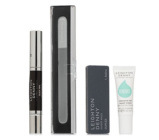 LEIGHTON DENNY Maniküre-Set Pflegestift 2,9ml, Handcreme 10ml, Nagelfeile & Buffer