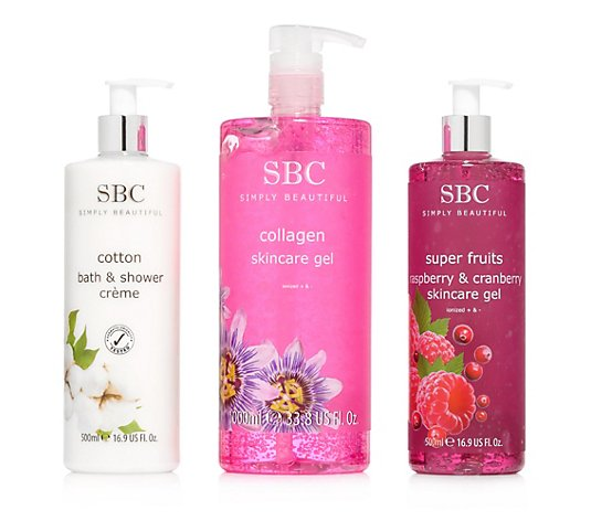 SBC Collagen Gel 1.000ml Superfruits Gel & Baumwolle Duschcreme je 500ml