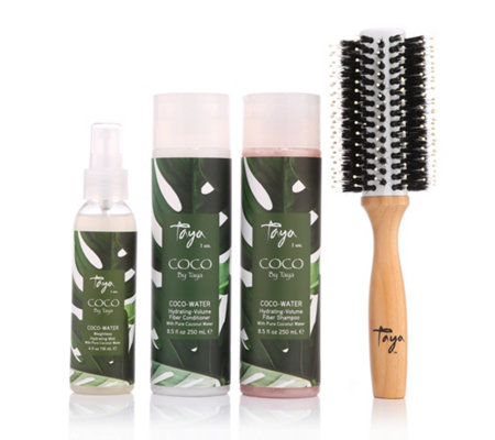 TAYA HAIRCARE Coco-Water Shampoo Conditioner Glanzspray & Bürste