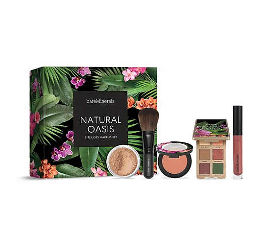 bareMinerals® Natural Oasis-Set Orig. Foundation 8g Lidschatten, Blush Lipgloss & Pinsel