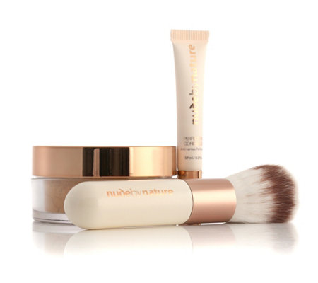 NUDE BY NATURE Icons Set 3tlg. mit Radiant Loose Powder Foundation 10g