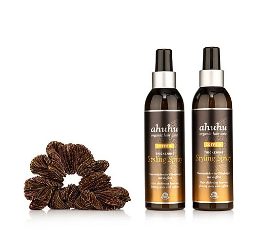 ahuhu organic hair care Coffein Thickening Styling Spray 2x 200ml, Scrunchie