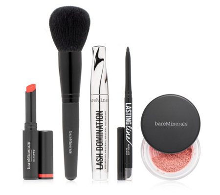 bareMinerals® Make-up Set mit Mascara, Lippenstift, Eyeliner, Schimmer- puder & Pinsel, 5tlg.