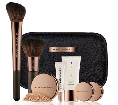 NUDE BY NATURE Complexion Essentials Starter-Kit inkl. Foundation mit Tasche, 8tlg.
