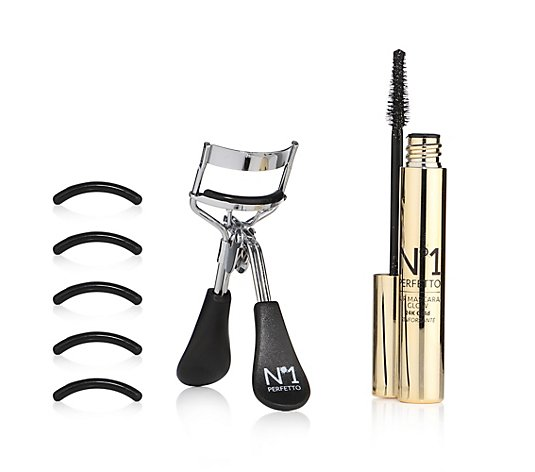 PERFETTO NO 1 Wimpern-Duo Illuminating Mascara schwarz, mit Wimpernzange