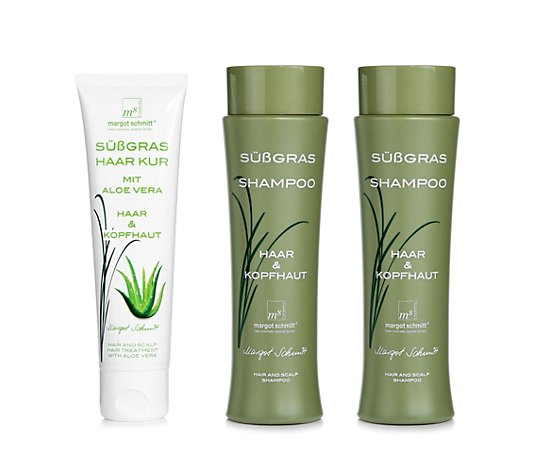 MARGOT SCHMITT® Sensitiv Süßgras Shampoo 2x 200ml Süßgras Aloe Vera Haarkur 100ml