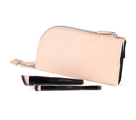 DOLL NO.10 Pinsel-Set mit Foundation & Concealer Pinsel inkl. Tasche, 2tlg.