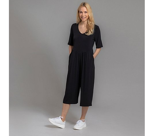 KIM & CO. Jumpsuit, 1/2-Arm Brazil Knit Jersey Culotte-Hose 2 Seitentaschen