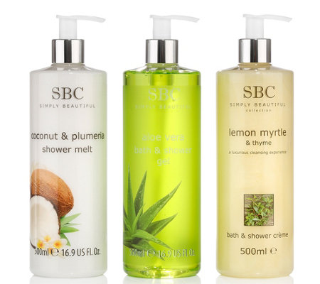 SBC Shower Collection Aloe Vera, Coconut & Lemon Myrtle & Thyme 3x 500ml