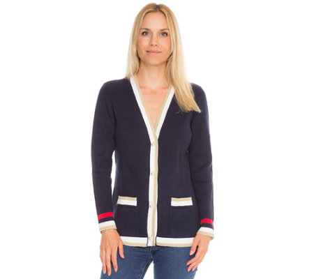 TODAY´S QUEEN by Wolfgang Hein Designermode Cardigan, 1/1-Arm Kontrastblenden