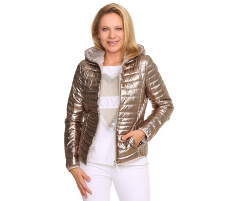 THOM by Thomas Rath Metallic-Steppjacke Kapuze 2-Wege-Zipper