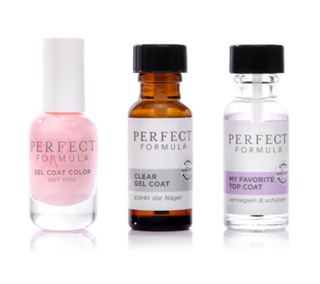 PERFECT FORMULA Gel Coat 18ml, Top Coat 18ml & Farb Gel Coat in zartrosa 8ml