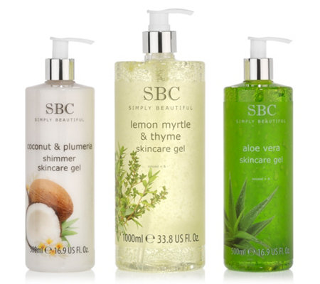 SBC Skincare Gel-Set Zitronenmyrte 1l, Aloe Vera 500ml & Kokosnuss 500ml