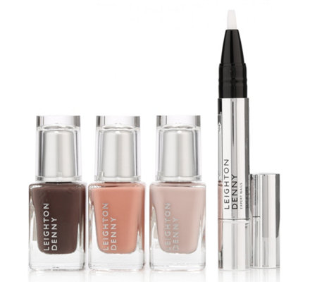 LEIGHTON DENNY Nagel-Set mit 3 Nagellacken & Nagelhautpflegestift 4tlg.