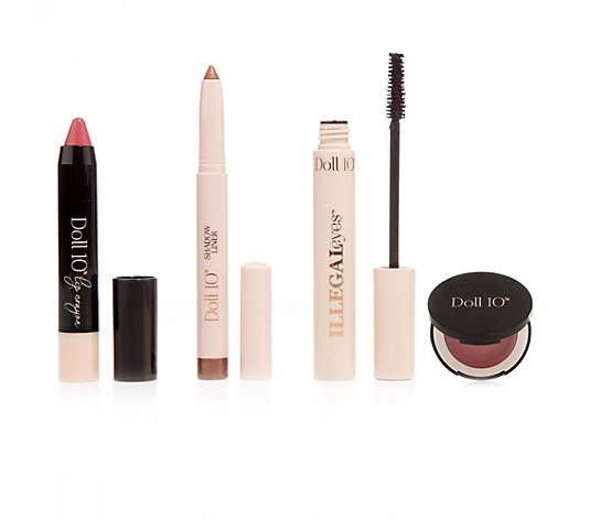 DOLL 10 BEAUTY Make-up Essentials für Augen, Lippen & Wangen 4tlg.