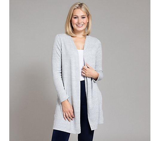 KIM & CO. Longcardigan, 1/1-Arm Soft Touch Jersey offene Front Melange-Garn