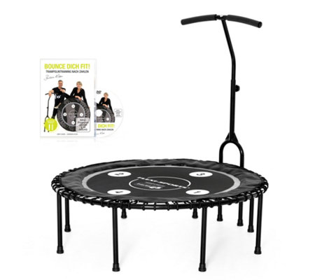 FLEXI-SPORTS Fitness-Trampolin Ø 115cm, bis 120kg inkl. Haltestange & Workout-DVD