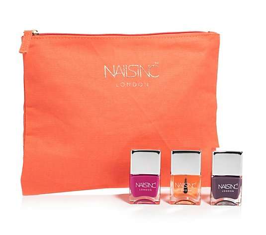 NAILS.INC® Nagel-Set mit Trendlacken & Kensington Topcoat 3x 14ml inkl. Tasche