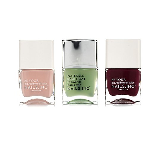 NAILS.INC® Nagellack-Set Farblacke 2x 14ml Base Coat 14ml 3tlg.
