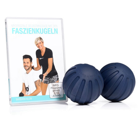 FLEXI-SPORTS Massagebälle aus PUR, 2x 8cm mit DVD zur Massagetherapie