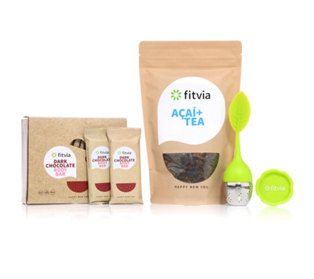 FITVIA Winter-Set aus Acai+ Tee 100g, Chocolate Body Riegel 12 Stück & Teeei