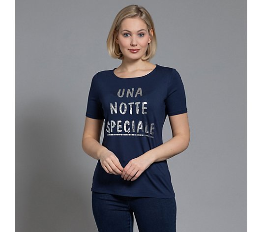 VIA MILANO Shirt, 1/2-Arm Rundhalsausschnitt Foliendruck Pailletten