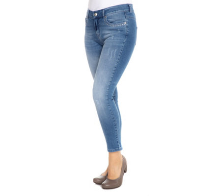JETTE Jeanshose Jasmin Stretch-Denim Strass-Nieten