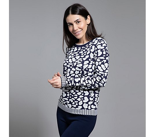 ANNI FOR FRIENDS Pullover, 1/1-Arm Rundhalsausschnitt Leo-Muster Jacquard-Optik