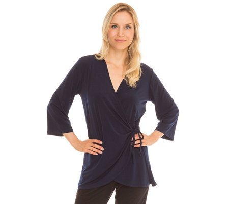 KIM & CO. Brazil Knit Jersey Longshirt, 3/4-Arm Wickeleffekt Bindeband